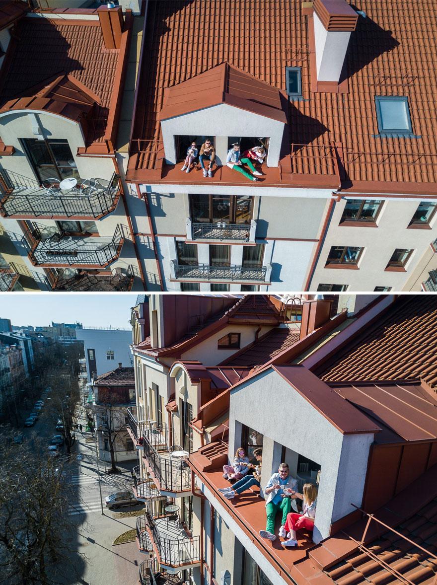 Fotograf za pomocą drona pokazał, jak niektórzy radzą sobie w czasie kwarantanny