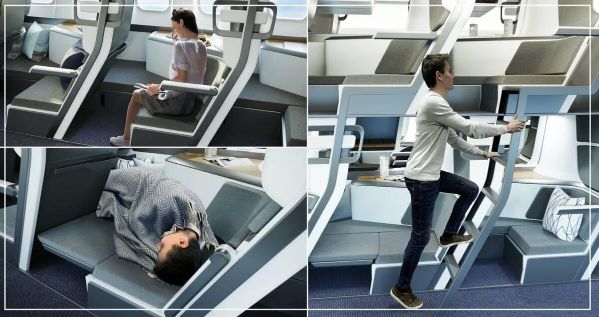 Nowy projekt siedzeń w samolotach pozwala pasażerom leżeć podczas podróży