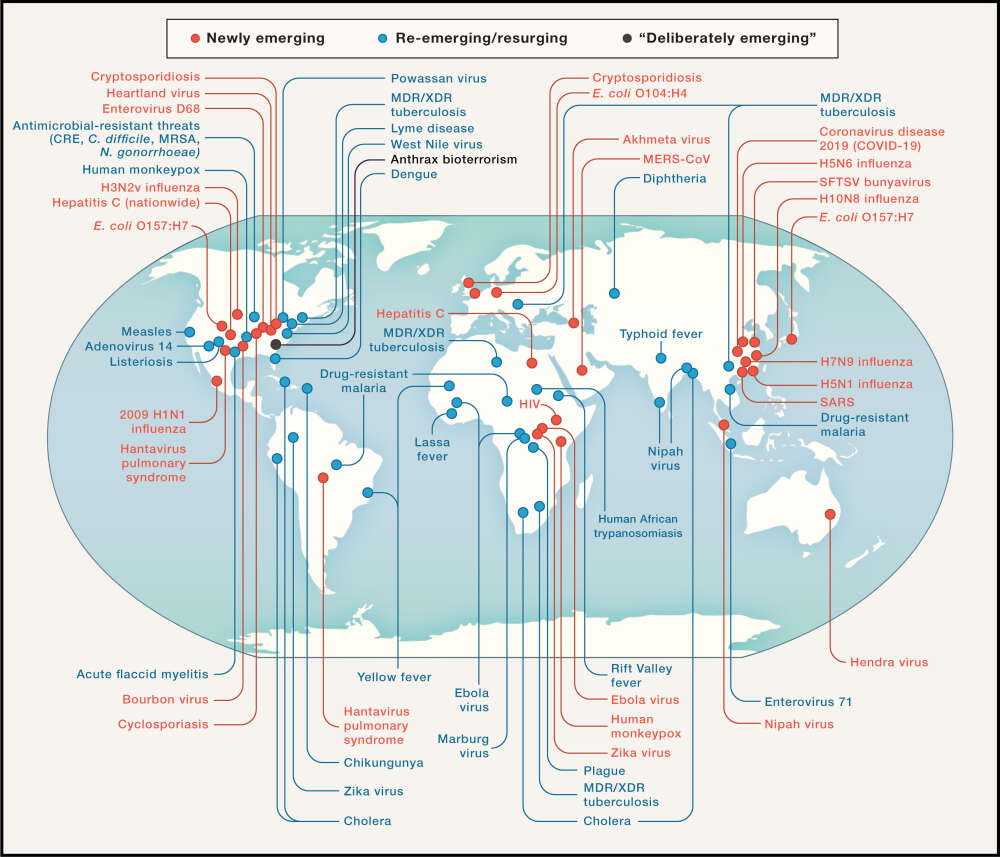 Mapa ujawnia wiele nowych i powracających patogenów, które mogą wywołać kolejną epidemię