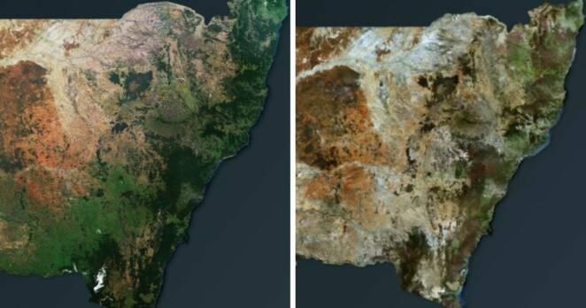 Zdjęcia satelitarne przed i po pożarach buszu w Australii ujawniają skalę kataklizmu