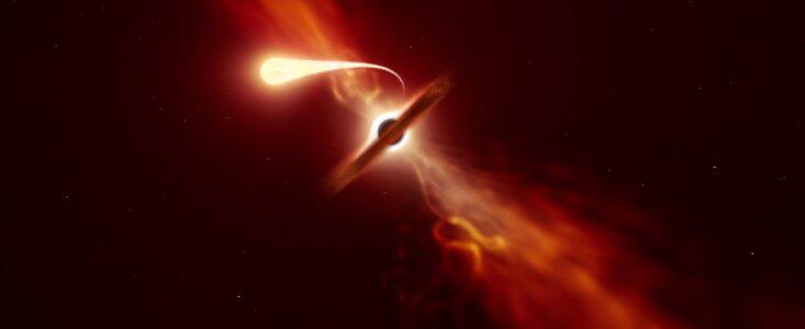 Ostatni krzyk światła gwiazdy pożeranej przez czarną dziurę w sercu odległej galaktyki