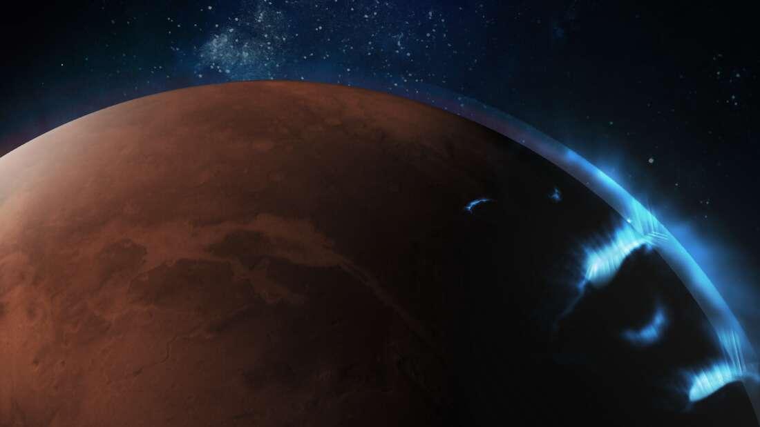 Orbiter Mars Hope uchwycił nigdy wcześniej niewidziane zorze na Czerwonej Planecie